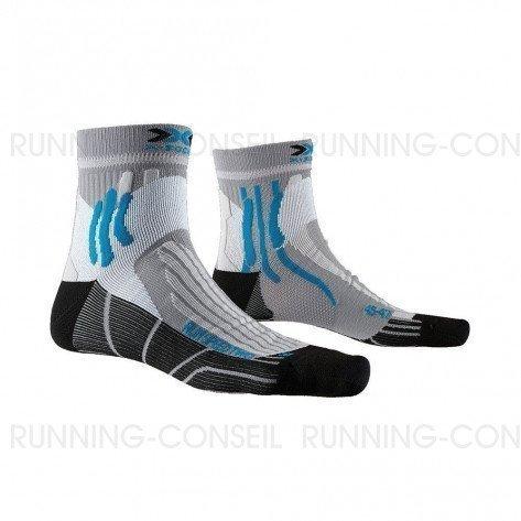 X-SOCKS Chaussettes Run Speed Two Mixte   Pearl Grey / Opal Black