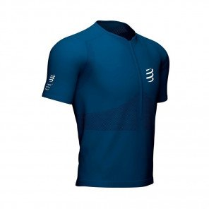 COMPRESSPORT Tee-shirt  manche courte TRAIL HALF-ZIP FITTED Homme | Bleu