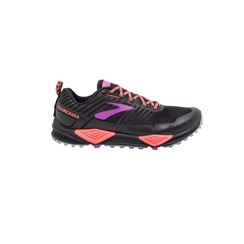 BROOKS CASCADIA 13 FEMME | BLACK/CORAL/PURPLE